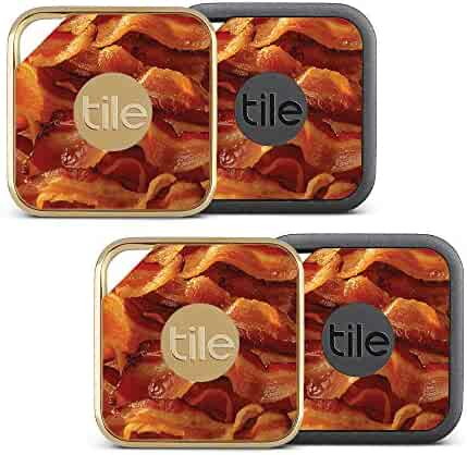 MightySkins Skin Compatible with Tile Pro Sport and Style Smart (Pack of 4 Skins) - Bacon | Protective, Durable, and Unique Vinyl wrap Cover | Easy to Apply, Remove | Made in The USA