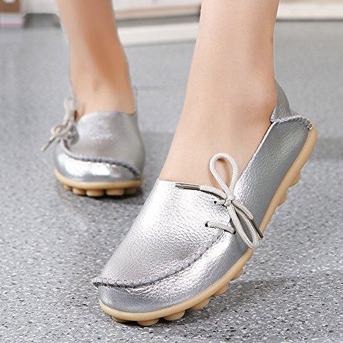 Loafers Schuhe für Frauen Leder - Handwerk 2018 New Exclusive Series Weihnachtsgeschenk ALL17002 Damen Schuhe Sale Slip On Loafers Damen Penny Comfort Walking Flache Schuhe zum Verkauf Silber