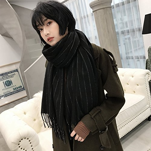 Black MDRWWinter Scarf The Winter Long Line of Thick Scarf Fringed Scarf Scarf AllMatch Warm Winter