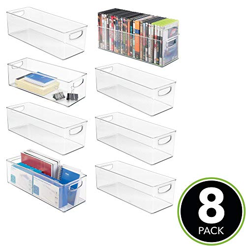 mDesign Large Stackable Plastic Storage Bin Container, Home Office Desk and Drawer Organizer Tote with Handles - Holds Gel Pens, Erasers, Tape, Pens, Pencils, Markers - 16'' Long, 8 Pack - Clear by mDesign (Image #2)