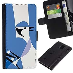 Paccase / Billetera de Cuero Caso del tirón Titular de la tarjeta Carcasa Funda para - Hidden Bird - Samsung Galaxy Note 4 SM-N910
