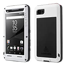 Sony Z5 Premium case,Feitenn Water resistant Rainproof Shockproof Dust/Dirt/Snow Proof Gorilla Glass Aluminum Metal Military Heavy duty Protection Case For Sony Z5 Premium Outdoor sport use (White)