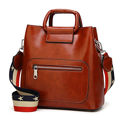 Mn&Sue Vintage Designer Women's Bucket Bag Shoulder Handbag Purse with Wide Strap (Brwon)