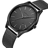 CRRJU Mens Fashion Minimalist Wrist Watch With Milanese Mesh Band,Waterproof Analog Deep Gray Date with Black Quartz Dress Wrist Watch