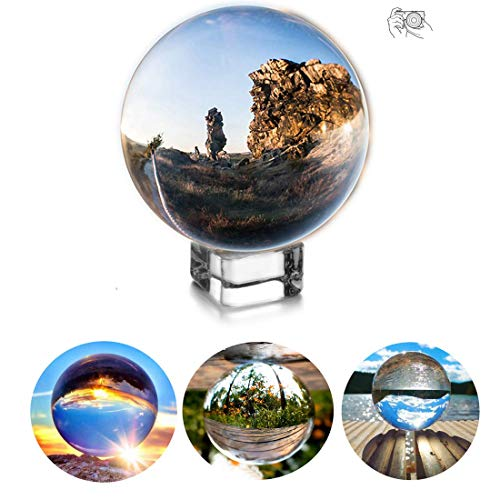 H&D 80mm Clear Crystal Ball - Photography Lensball Photography Glass Ball Photography Crystal Ball - Decor Photography Ball with Free Crystal Stand]()