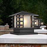 Modeen Continental Victoria Retro LED Outdoor Table Lamp Waterproof Villa Balcony Fence Column Lamp Desk Light Glass Aluminum Light Black E27 Decoration Garden Lights Lawn Lamp (Size : 28cm20cm)