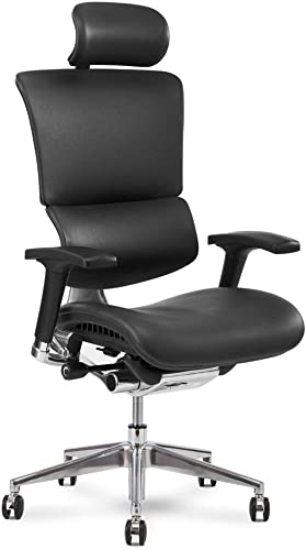 X Chair X4 Leather Executive Chair, Black Leather with Headrest