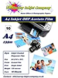 10 x A4 OHP Inkjet Transparency Film Sheets 135 micron Instant Dry
