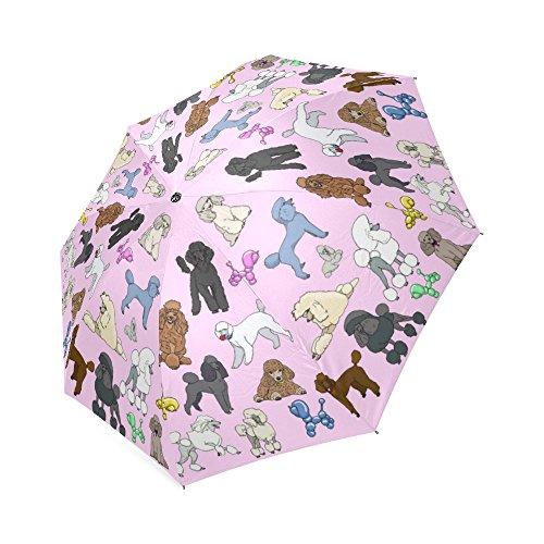 Artsadd Fashion Umbrella Poodle Umbrella Pink Foldable Sun Rain Travel Umbrella