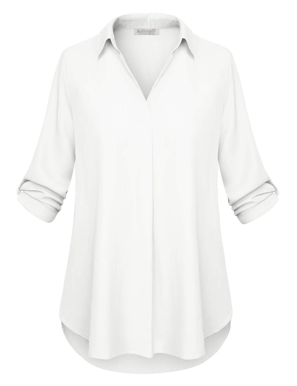 BaiShengGT Women's Solid Tunic Shirts Half Roll Sleeve Notch Neck Tunic Top XX Large White
