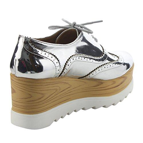 Up Trendy Wing Oxfords High Tip Lace Silver X2B Platform Wedge Womens Heel FK39 vOwxqnEaPR
