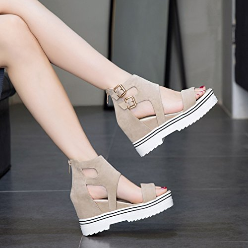 Beige AIYOUMEI Ankle Womens AIYOUMEI Womens Strap xX0qFnZSw