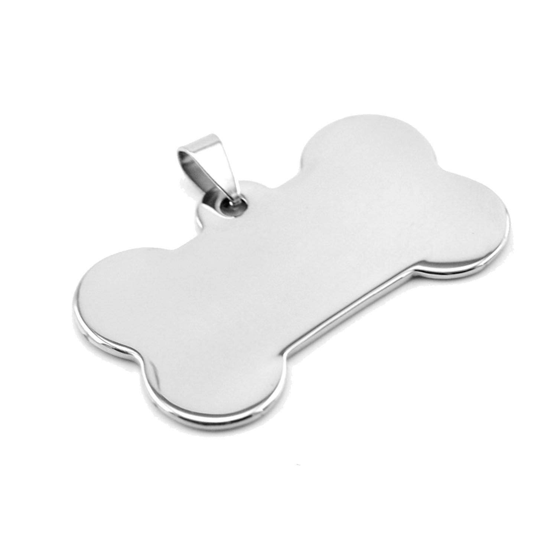 Pet Tags Dog Bone Charm Id Dog Tag DIY Print Blank Pendants Mirror Polish Stainless Steel 10 Pcs,29x50