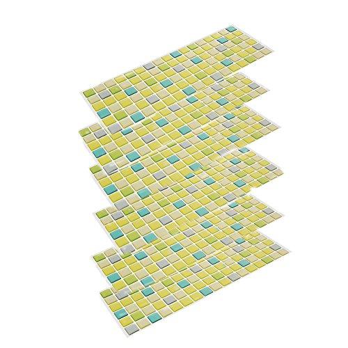 Beaustile Mosaic 3D Wall Stickers 6 Sheets Home Decor Frash Green Art Fire Retardant Backsplash Wallpaper Bathroom Kitchen DIY by Design Tiles