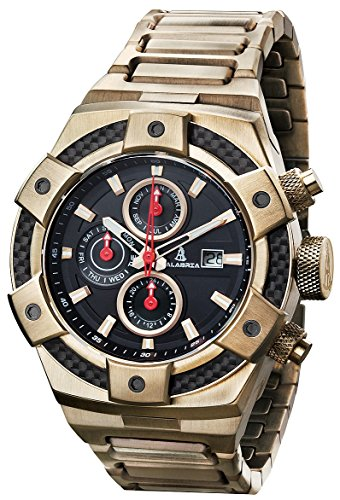 CALABRIA - ARMATO Forte - Gold - Black Dial Men Watch with Carbon Fiber Bezel & Stainless Steel Band ()