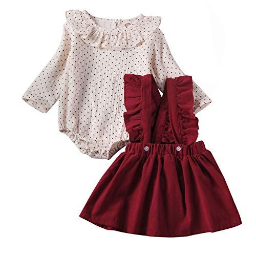 Carolilly Kersttrui met lange mouwen voor babymeisjes, met rendier en korte rok, jurk met bretels, schattig zacht…
