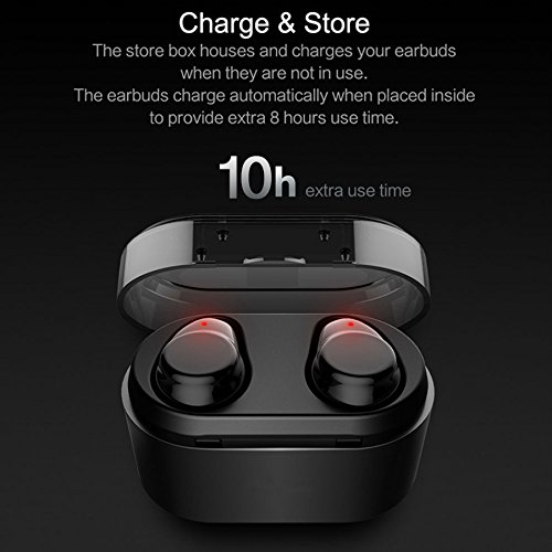 True Wireless Earbuds Langsdom X7 Mini Bluetooth 4.2 Headphones In-Ear Noise Isolating Earphones with Mic Smart Touch Control and Portable Charging Box for iPhone Samsung and More by Langsdom (Image #3)