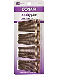 Conair Styling Essentials Bobby Pins, Brunette - 60 pcs, 1-Pack