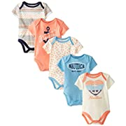 Nautica Baby-Girls Newborn 5 Pack Multi Print Bodysuits, Assorted, 6 Months