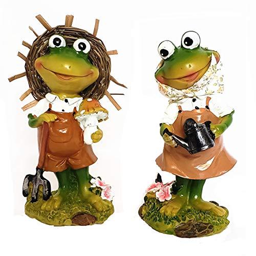 (BECOR Statue Home Decor Table Top Collectible Figurine Outdoor Animal Garden Sculpture Couple Resin Frog Family 6.5