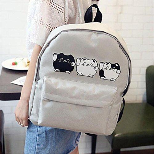 Clode® Mochila de hombro chicas chicos lienzo escuela Bolsa viaje mochila mochila mujer Gris
