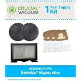 Filter/Bag kit for Eureka Mighty Mite Vacuums w/1 HF8 HEPA Filter, 2 Motor Filters & 18 Vacuum Bags; Compare to Eureka Part No. 60666, 60295; Designed & Engineered by Think Crucial