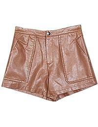 QJH Women's Faux Leather Shorts PU Pants