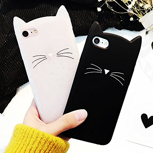 Price comparison product image Wpcheng New Cute Cartoon Beard Cat Silicone Phone Case Cover For iPhone 5 5S SE 6 6S Plus For iPhone 7 Plus For Samsung Galaxy S8 Plus S7 S6 S5 White iPhone 7 Plus