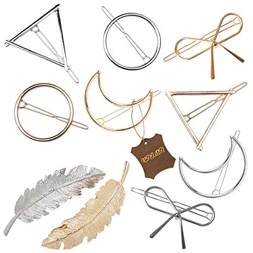 Gold Silvel Minimalism Hair Clips Dainty Feather Hollow Hair Clips Set Feather Hair Pins Geomoetric Barrette Hair Accessories for Women