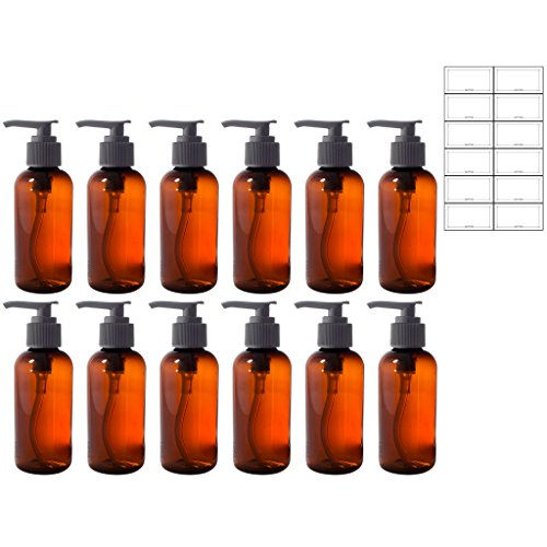 Amber 4 oz Boston Round PET Bottles (BPA Free) with Black Lotion Pump (12 Pack) + Labels