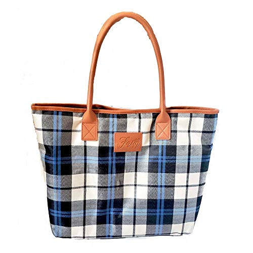 Faith Blue Plaid Handbag - Religious Zippered Tote Bag for Women - Christian Church Gifts ()