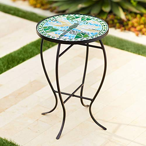 (Teal Island Designs Dragonfly Mosaic Black Iron Outdoor Accent Table)