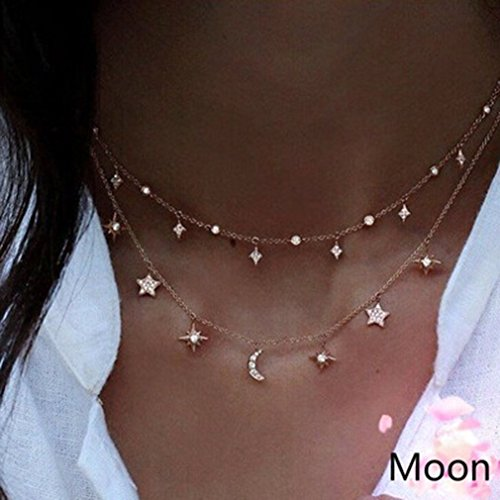 Rurah Fashion Women Girls Moon Stars Charming Double Layers Jewelry Pendant (Gold Double Star)