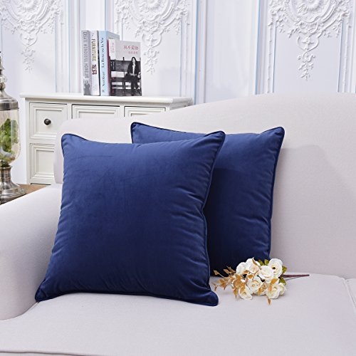 Throw Pillow Covers FINET Velvet Cushion Covers Navy Blue Pillow Case Square 20 Pillow Covers Decorative Throw Pillows Covers Soft Pillows Protectors Zippered for Sofa Bed, 20 X 20,Set of 2