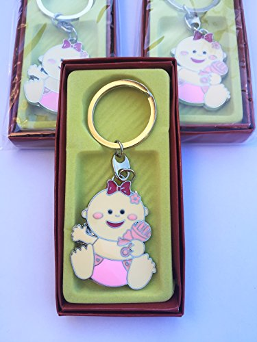 NEW Key Chain Baby Shower Favor Girl Holding a Pink Rattle Set of 12
