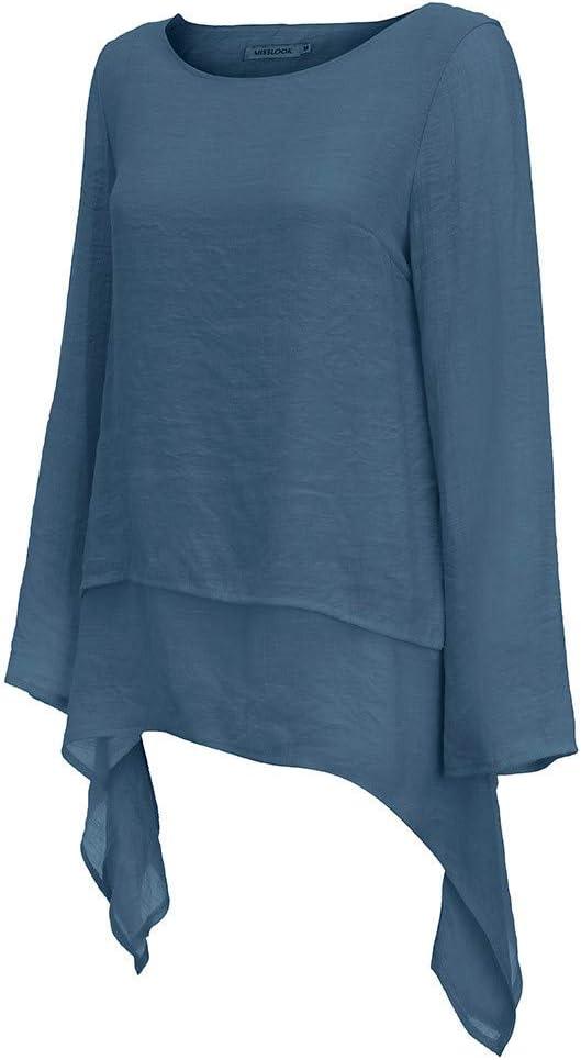 Easter XXXL, Beige Janly Women Tops Women Summer Plus Size Casual T-shirt Ladies Irregular Hem Linen Blouse Womens Long Sleeve Crew Neck Plain Brief Shirt Tee