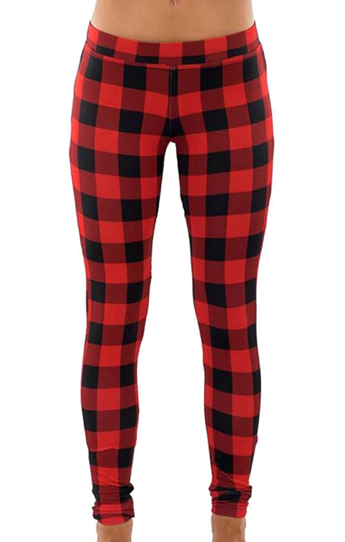 Cruiize Womens Stretch Leggings Plaid Print Tights Pants Trousers