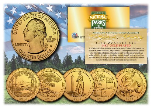 2013 America The Beautiful 24K GOLD PLATED Quarters Parks 5-Coin Set w/Capsules by Merrick Mint