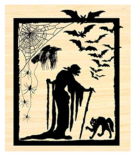 Witch with Bats Halloween Rubber Stamp P35 ()