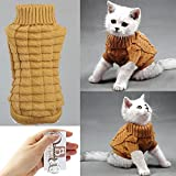 Bolbove Cable Knit Turtleneck Sweater for Small Dogs & Cats Knitwear Cold Weather Outfit (Brown, Small) Larger Image
