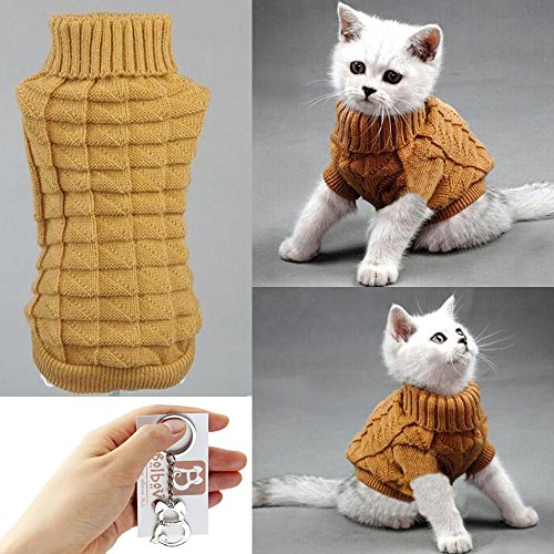 (Bolbove Cable Knit Turtleneck Sweater for Small Dogs & Cats Knitwear Cold Weather Outfit (Brown, Medium))