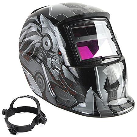 LEXPON Welding Helmet Automatic Solar Welding Shield Adjustable Grinding ARC TIG MIG Lightning Skull with God