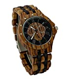 Ideashop Date Time Week 24 Hours Zebrawood Watches QUARTZ Wood Watch with Night Visual Gift for Men