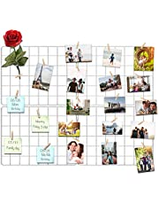 Kakivan Wire Wall Grid Panel for Photo Display, DIY White Iron Picture Frames Collage for Hanging Wall Decor, Foldable Multi Pictures Organizer with 12 Clips, 31'' X 24'' Inch. (2 Pack)