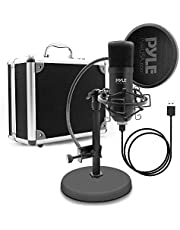 Pyle PDMIKT100 USB Microphone Podcast Recording Kit - Audio Recording Cardioid Condenser Mic w/Stand, Gooseneck Pop Filter, For Gaming, Desktop,Streaming, Studio, Works w/Windows PC, Laptop, Mac