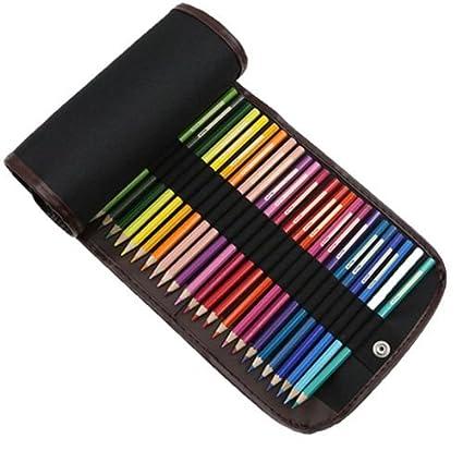 Estuche de lápices de colores, bolsa de lona para bolígrafos, 48 agujeros, estuche de lápices de colores, estuche para lápices de viaje, estuche ...
