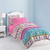 Dream Factory Set de edredón con simbolo de Paz y Amor, para niñas, Multicolor, matrimonial