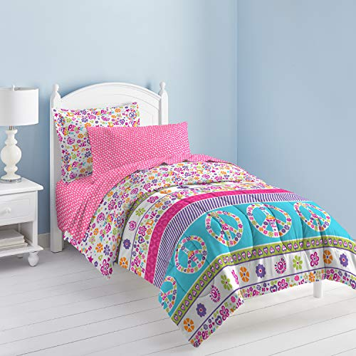 (Dream Factory Peace And Love Peace Signs Girls Comforter Set, Multi-Colored, Twin)