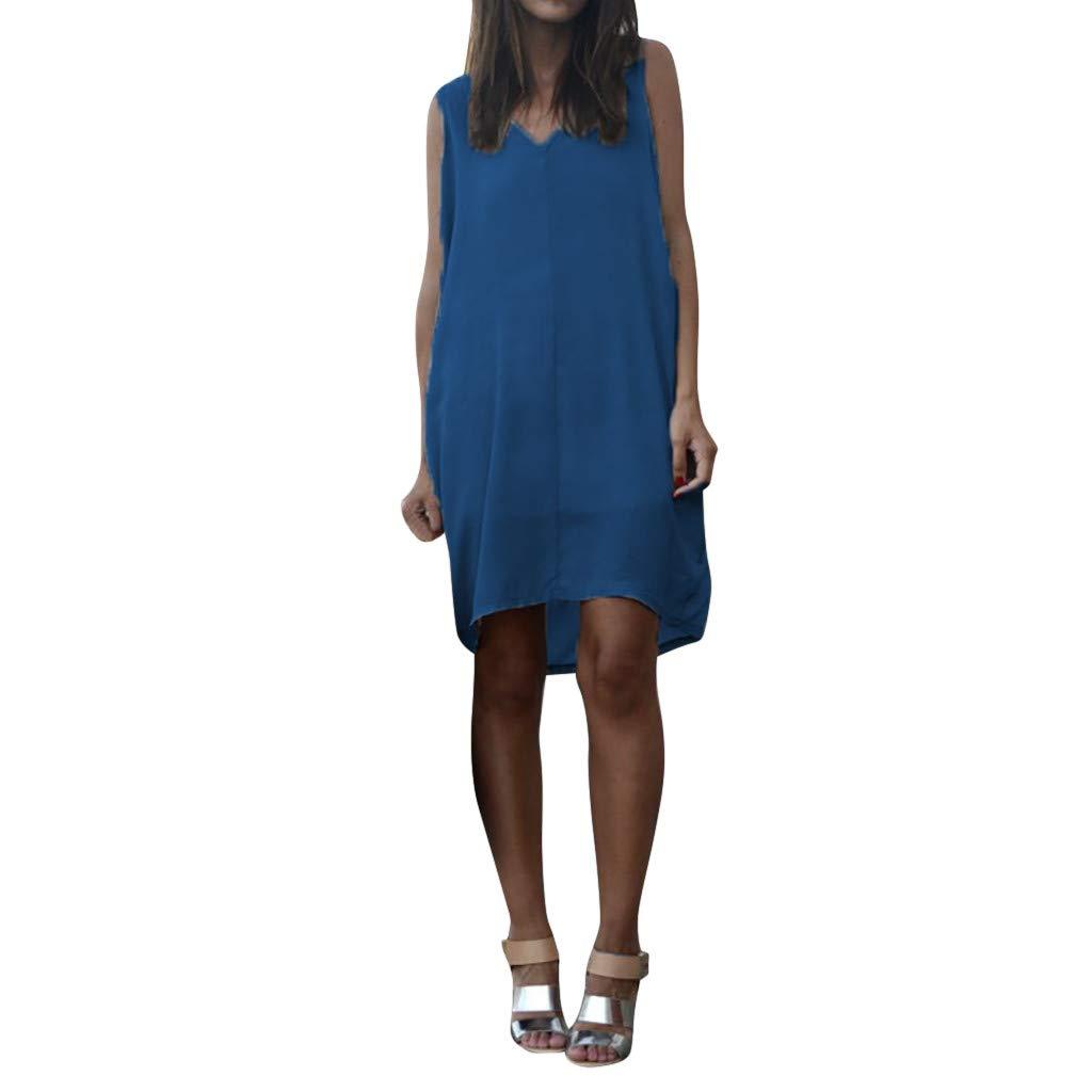 Keliay Dress for Women Summer, Summer Women Casual Sleeveless Tank V Neck Loose Beach Holiday Dress Blue