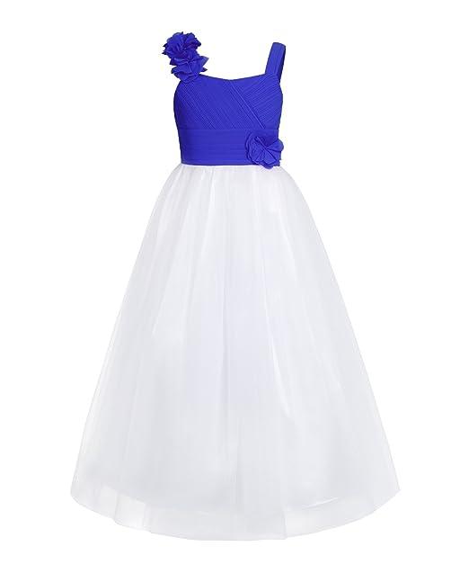 FEESHOW Niña vestido Princesa con flores Elegante vestido fiesta Boda Falda de gasa Azul 14
